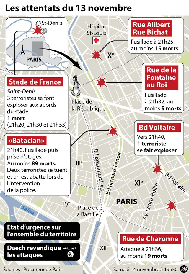 Carte des attentats