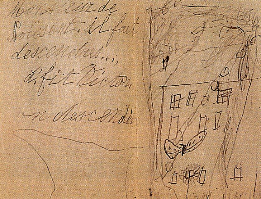 """Double-page avec dessin de """"Noissent"""", premier roman d'Aragon repris sous le titre """"Quelle âme divine"""" (1924). Manuscrit de 1903"""