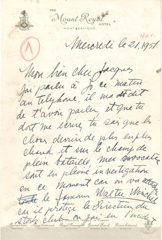 Lettre de Joséphine Baker après l'épisode Stork club en 1951