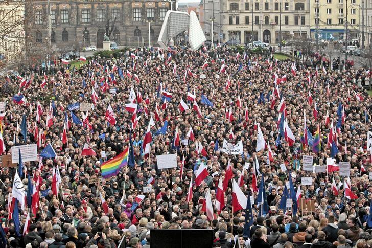 Anti-government protest in Poznan, Poland