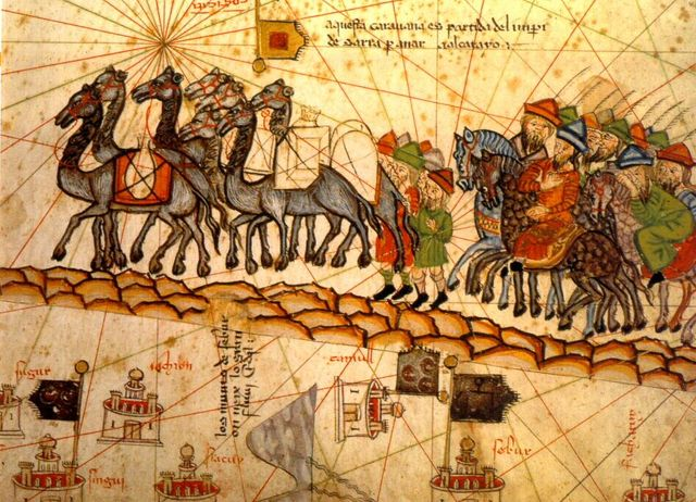 Caravane sur la route de la soie -Atlas catalan de Cresques Abraham- 1375