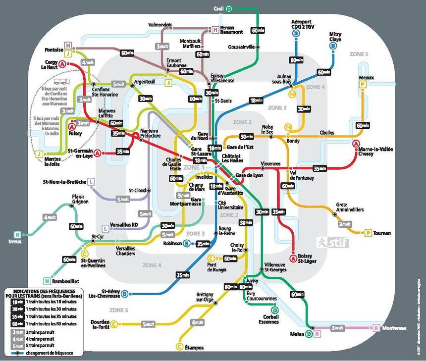 La carte de fréquences des RER et Transiliens Paris-banlieue la nuit du 31