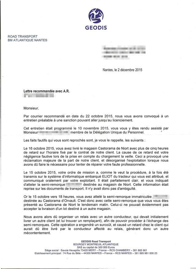 La lettre de licenciement reçu par le salarié de Géodis
