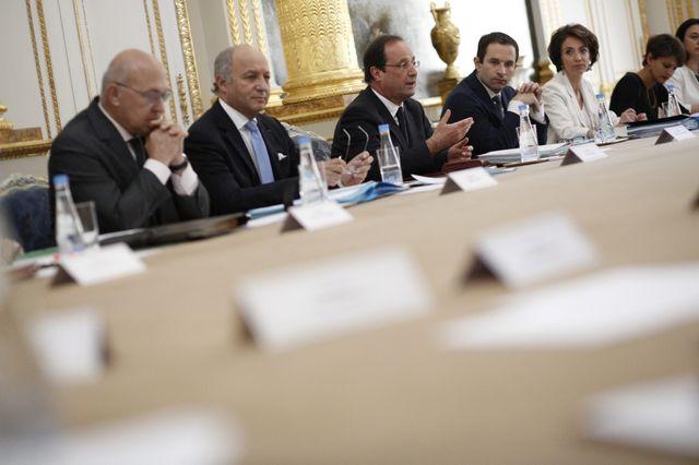 Les ministres et secretaires d'Etats du gouvernement du Premier ministre Manuel Valls