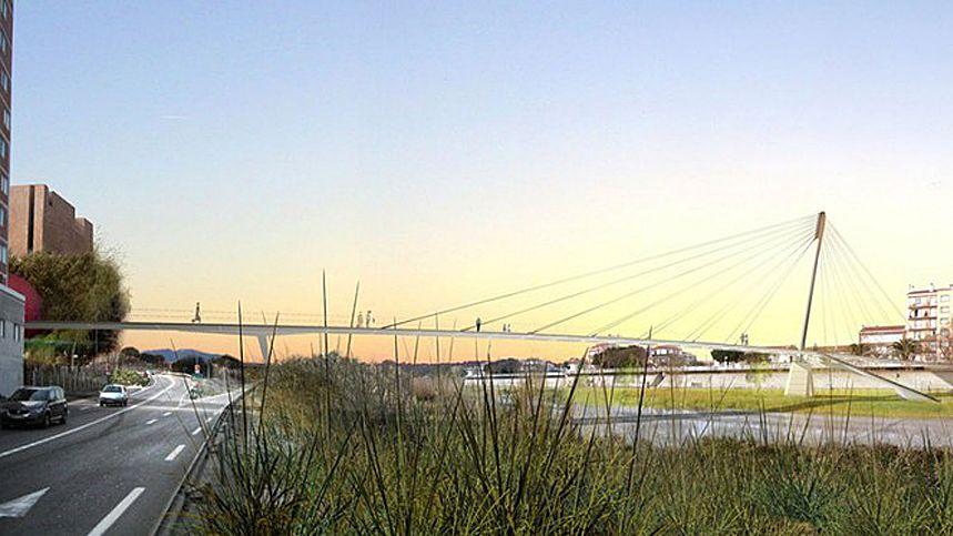 Le pont relie la digue d'Orry à l'Espace Méditerranée.
