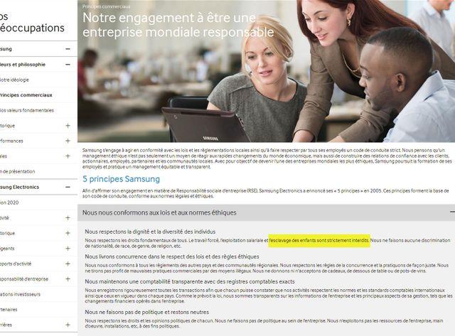Saisie d'écran des engagements éthiques de Samsung sur le site internet de l'entreprise