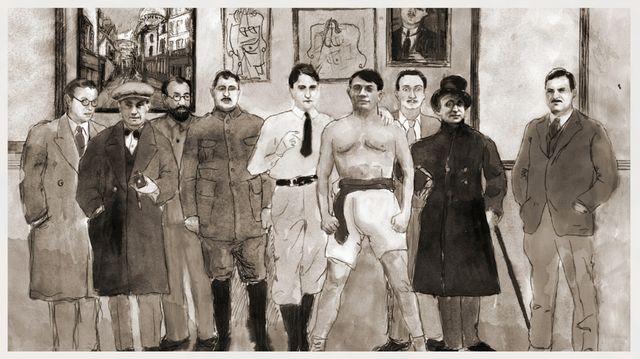 Jean-Paul Sartre, Man Ray, Henri Matisse, Guillaume Apollinaire, Jean Cocteau, Pablo Picasso, Salvador Dalí, Max Jacob et Erne