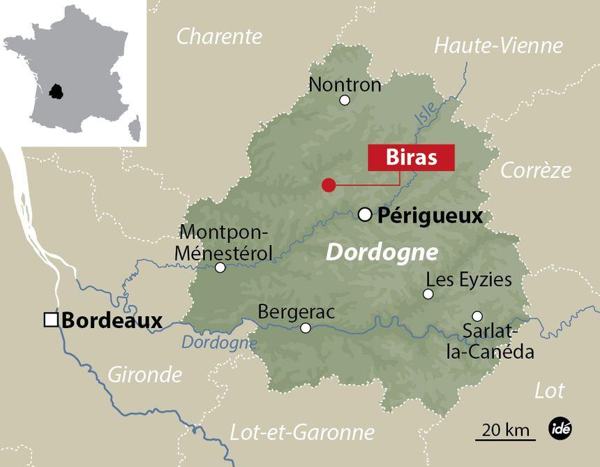 La carte de situation de Biras (Dordogne)