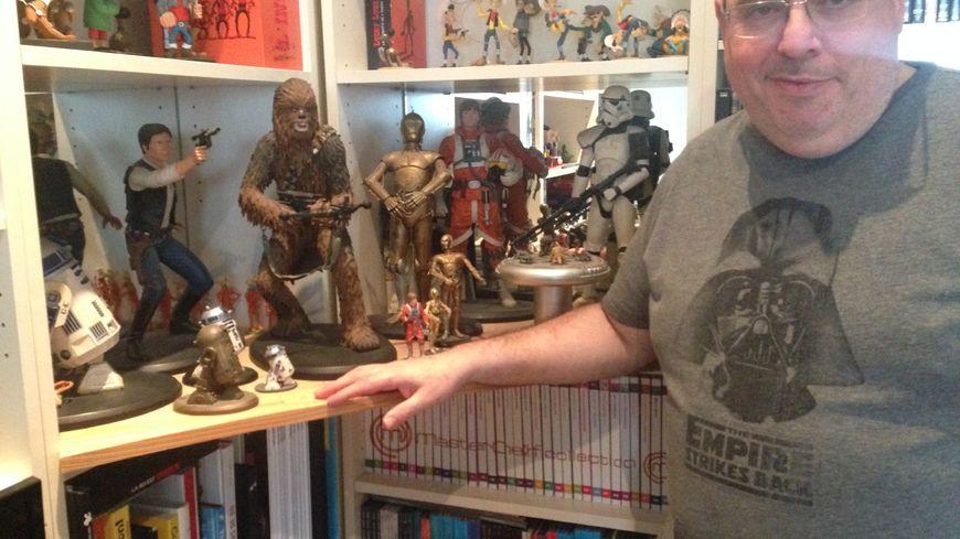 Christian avec une partie de sa collection Star Wars