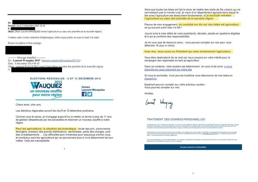 Le mail de Laurent Wauquiez au monde agricole.