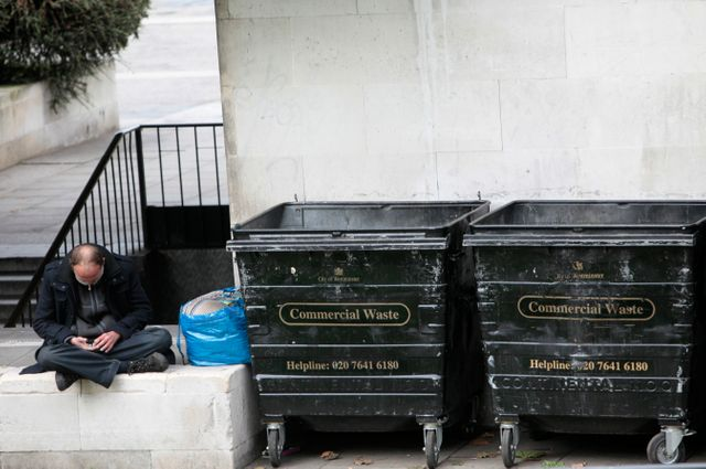 Un sans-abri à Londres.