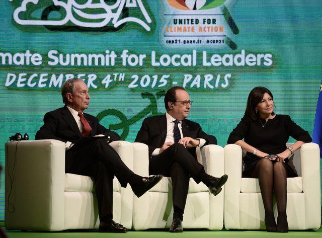 François Hollande au milieu d'Anne Hidalgo et Michael Bloomberg, l'ancien maire de New-York