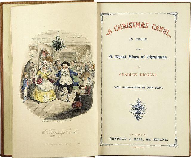 """Premières pages de """"A Christmas Carol"""" de Charles Dickens avec les illustrations by John Leech"""