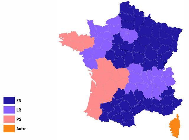 Carte des partis en tête aux régionales 2015