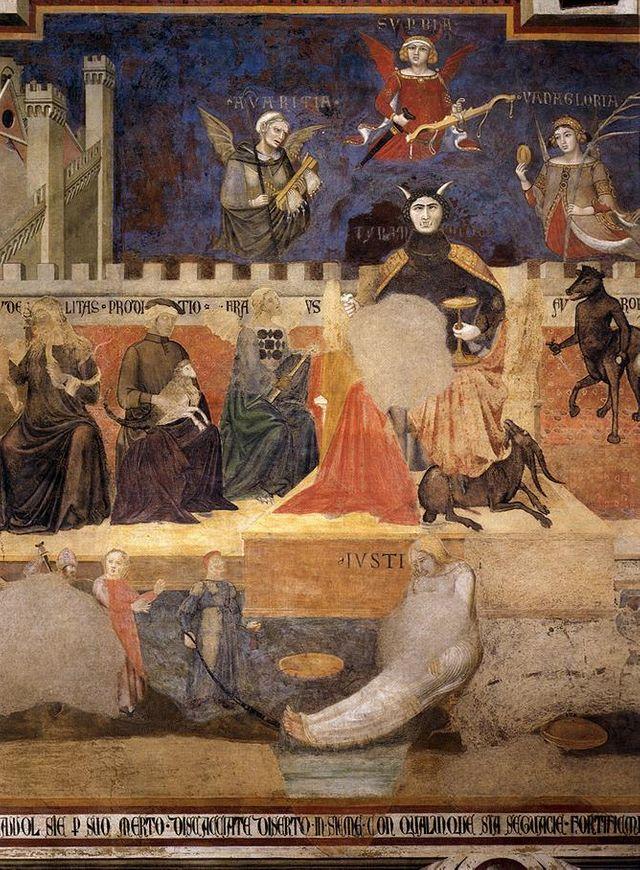"""Détail de la fresque """"Les Effets du bon et du mauvais gouvernement"""" d'Ambrogio Lorenzetti à Sienne - XIVème s."""