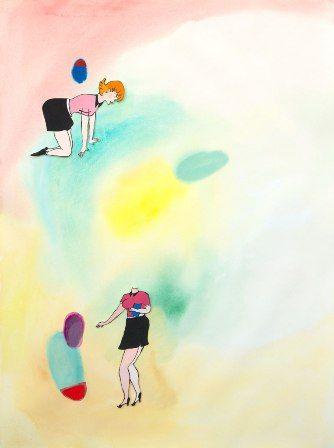 Brigitte, 2015 gouache, collage sur papier 73 x 54 cm