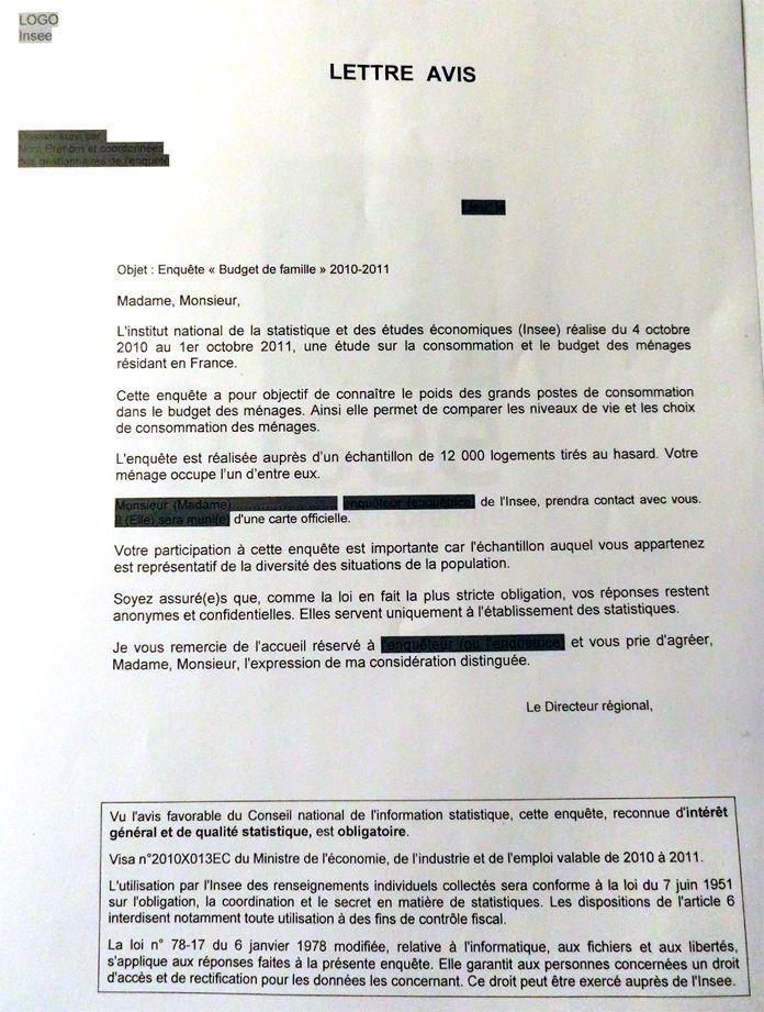 Prototype de lettre avis de l'Insee