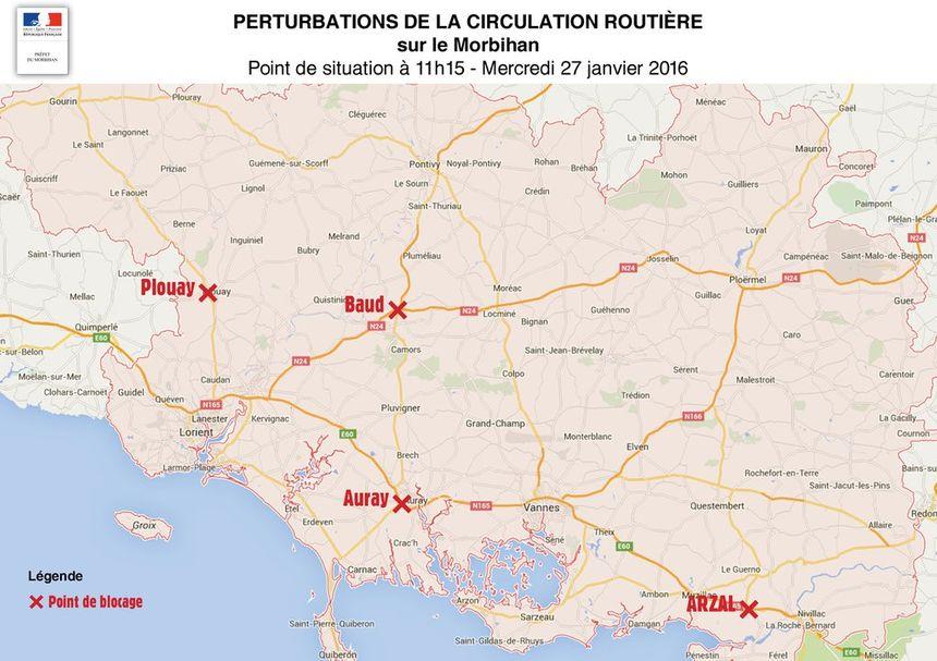 les blocages dans le Morbihan