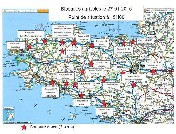 Les blocages agricoles : point de situation à 15h