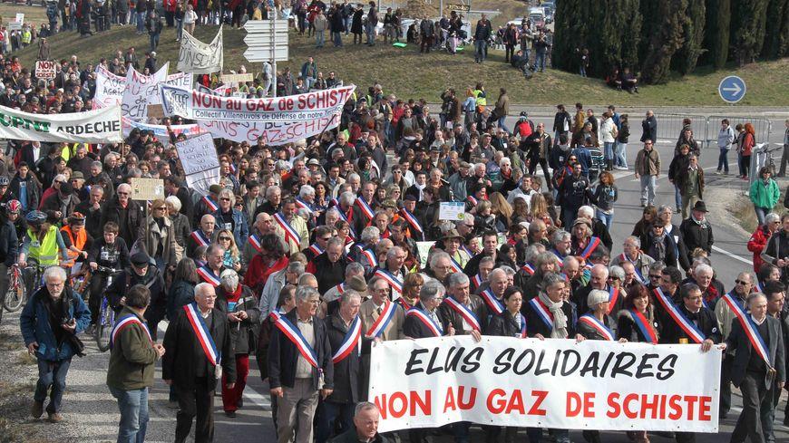 Manifestation anti-gaz de schiste en Ardèche en 2011