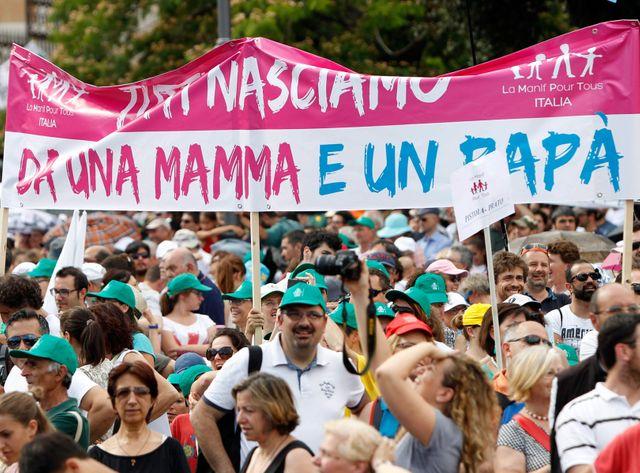 Les opposants aux mariage gay avaient déjà manifesté à Rome en juin dernier