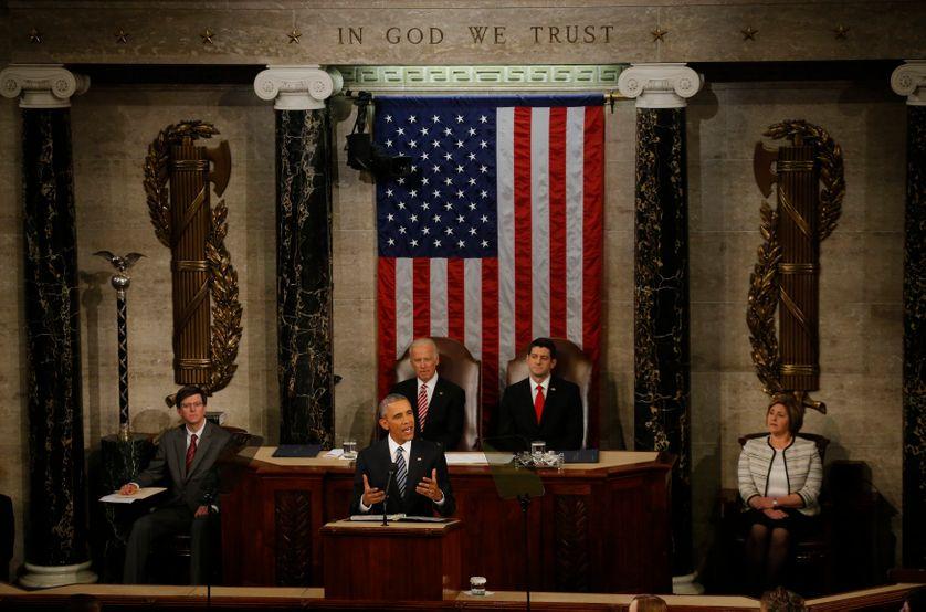 Barack Obama délivre son dernier discours sur l'état de l'Union face au Congrès, le 12 Janvier 2016