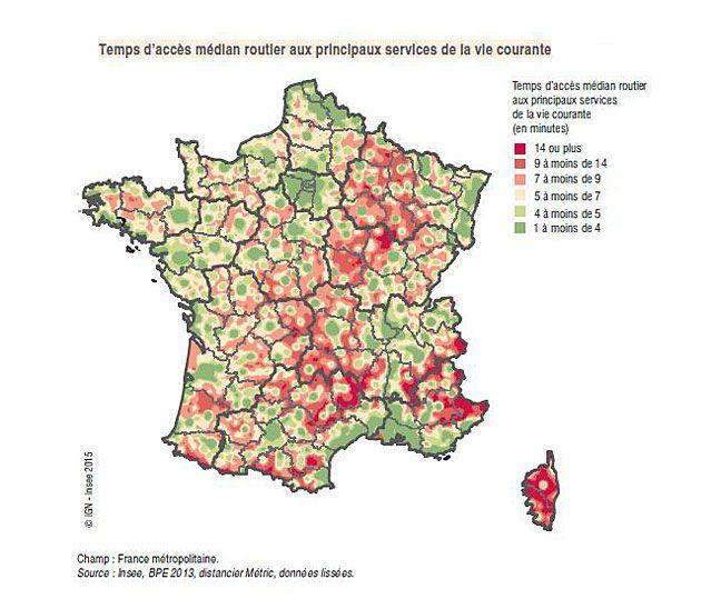 Temps d'accès aux services selon les régions