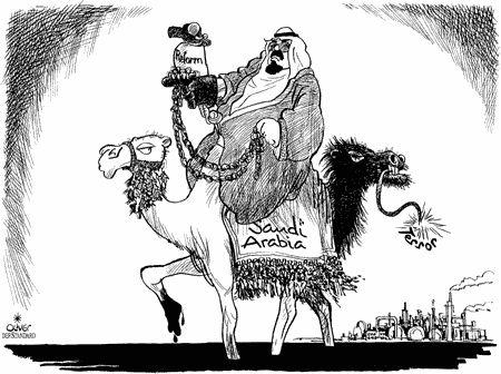 Dessin d'Oliver, l'Arabie Saoudite entre terreur et réforme, publié dans Courrier International en 2005