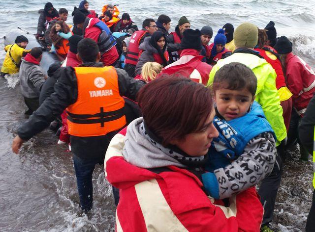 Des réfugiés sur l'île de Lesbos