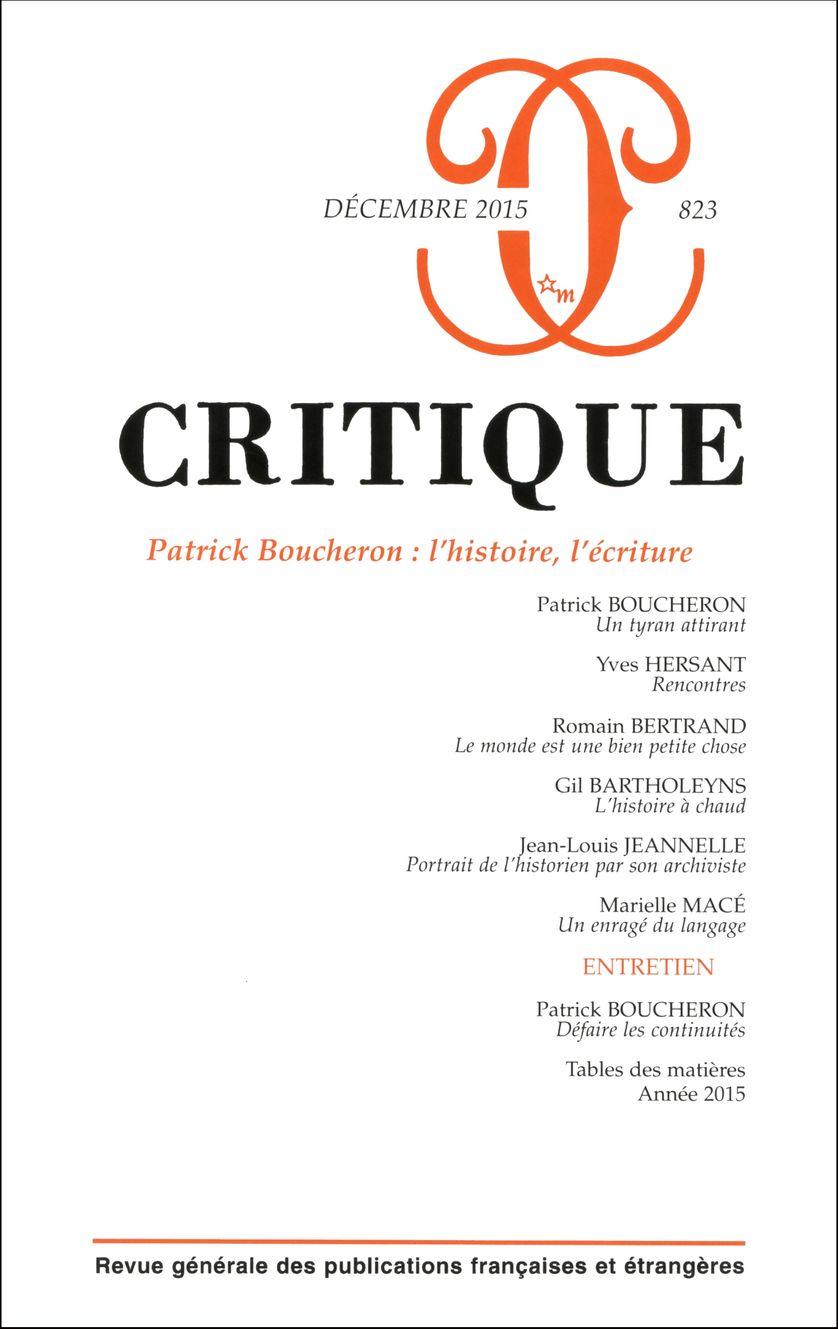 La Revue Critique de janvier 2016 consacrée à Patrick Boucheron
