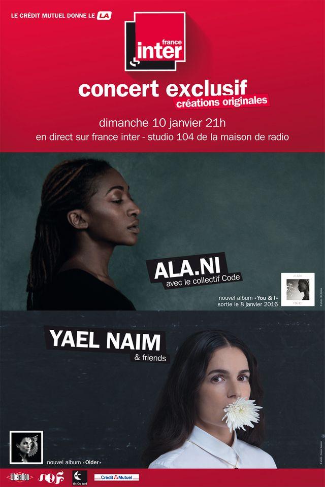 Affiche du concert ALA.NI / Yael Naim au Studio 104