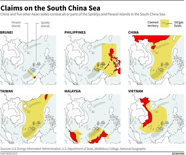 Maps showing the claims of six Asian countries contesting all or parts of the Spratly and Paracel islands in the South China Sea