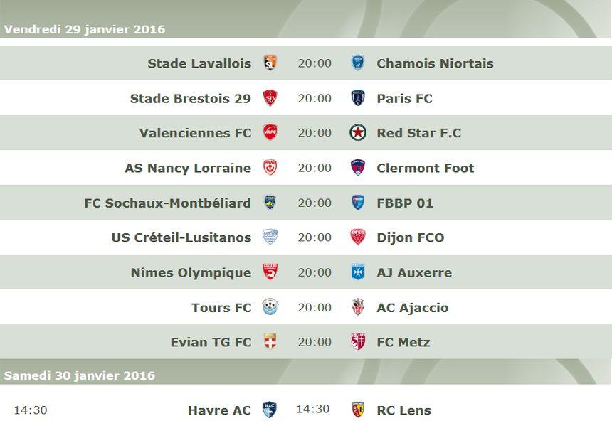 Programme de la 23e journée de Ligue 2