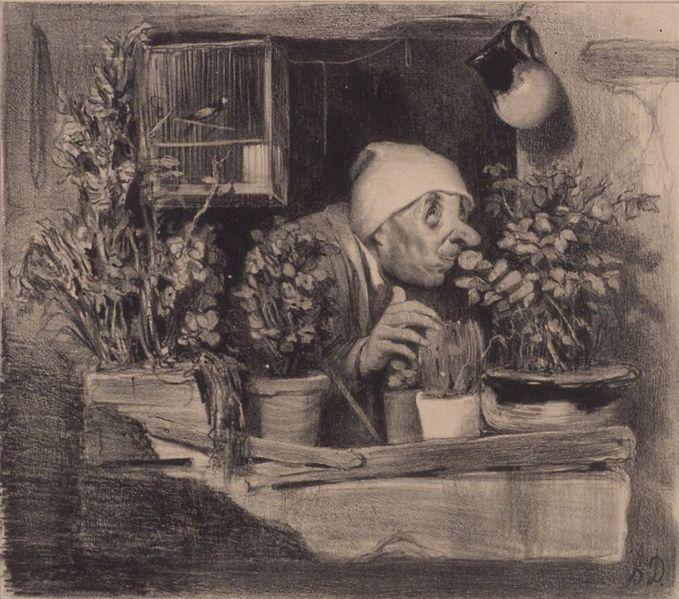 L'Odorat, lithographie d'Honoré Daumier ca. 1839