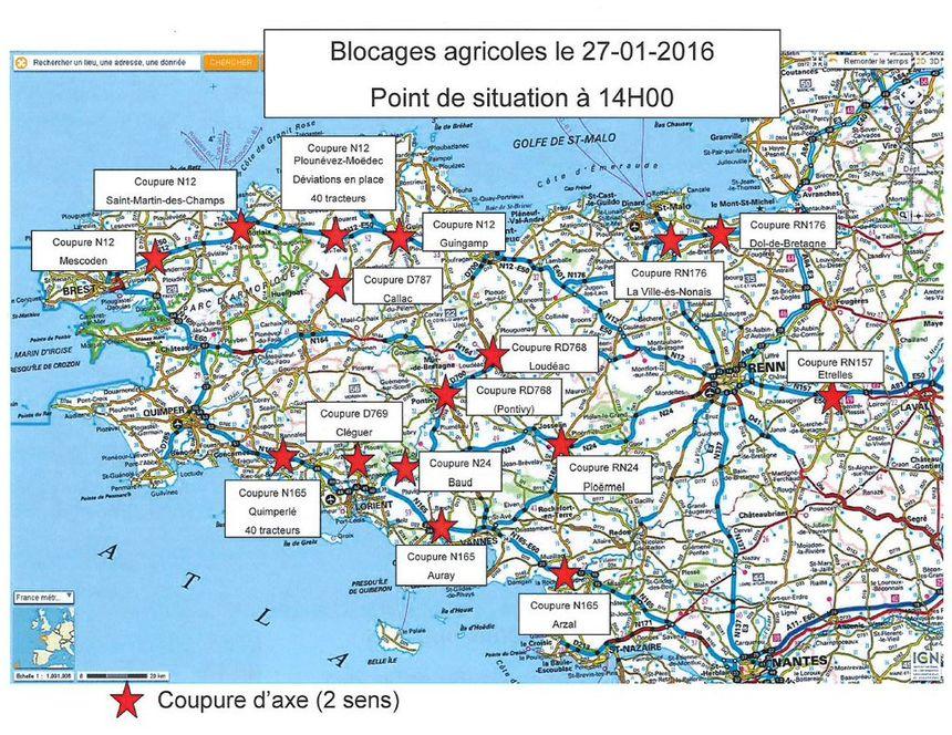 Les blocages agricoles : point de situation à 14h