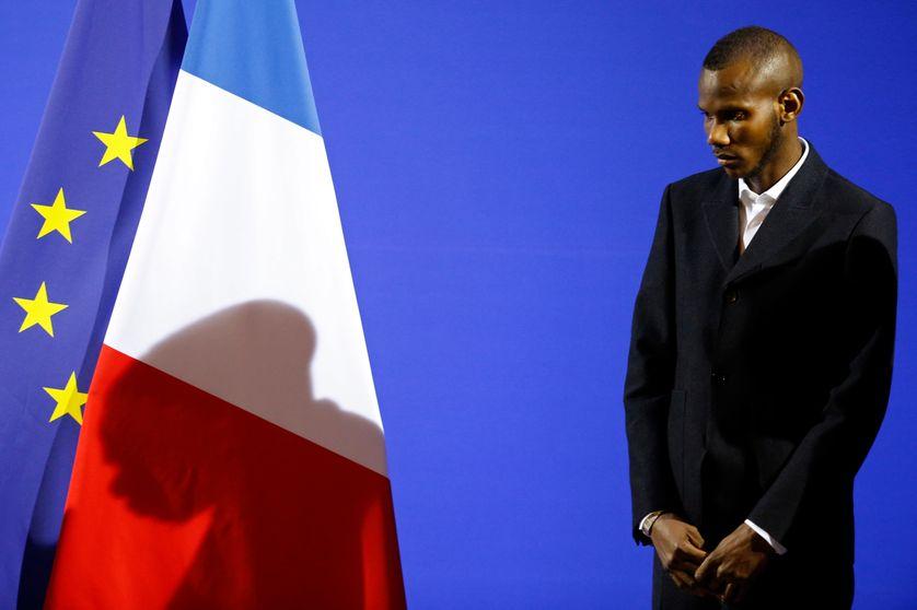 Lassana Bathily, lors de la cérémonie de sa naturalisation, le 10 janvier 2015 au Ministère de l'Intérieur à Paris