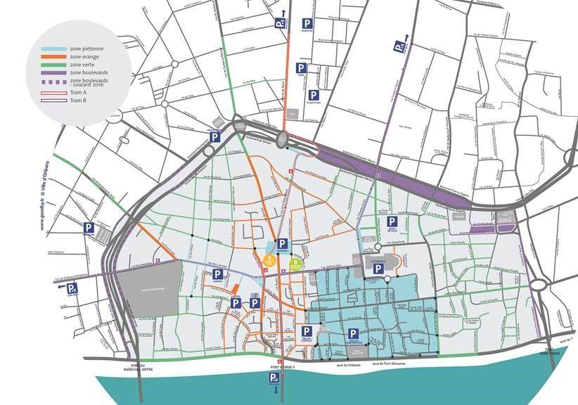 En violet sur la carte, les nouveaux secteurs payants à compter du 1er mars 2016