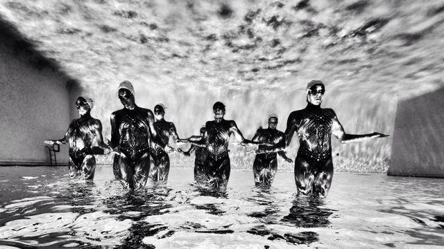 Stage de préparation de l'équipe de France de natation synchronisée à Barcelone (13/07/2014)