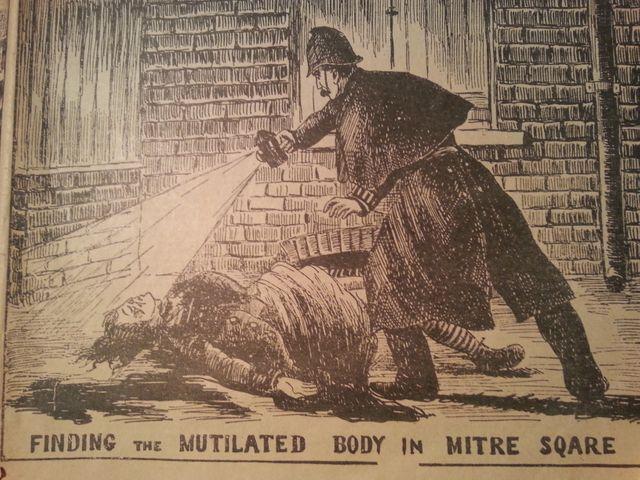 Découverte d'une victime de Jack l'Eventreur, dessin publié dans le Police news illustrated
