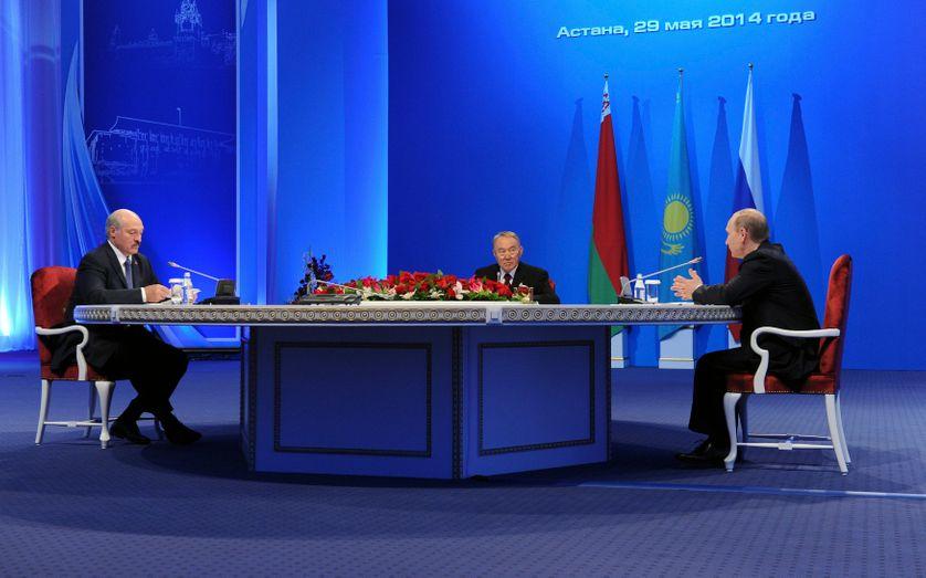 Vladimir Putin, Kazakh President Nursultan Nazarbaye and Belarus President