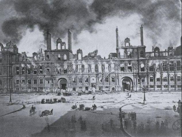 Les ruines de l'Hôtel de Ville, par Liébert
