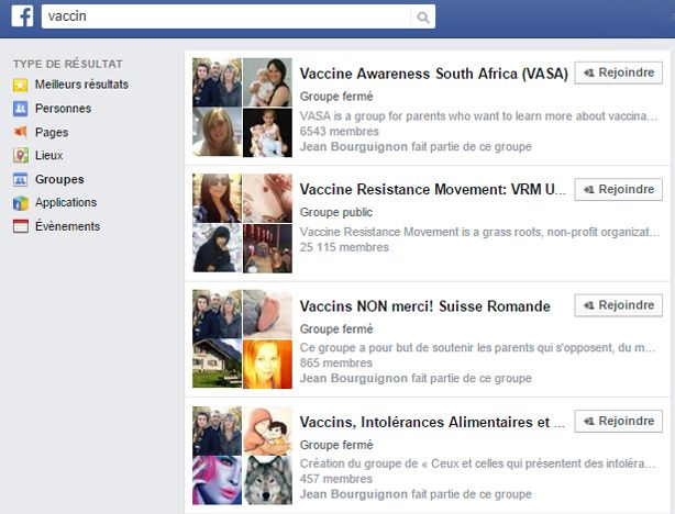Capture d'écran de groupes vaccins Facebook