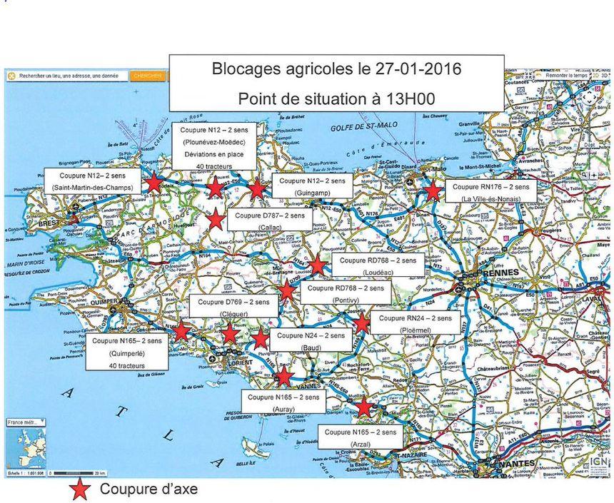 Les blocages agricoles : point de situation à 13h