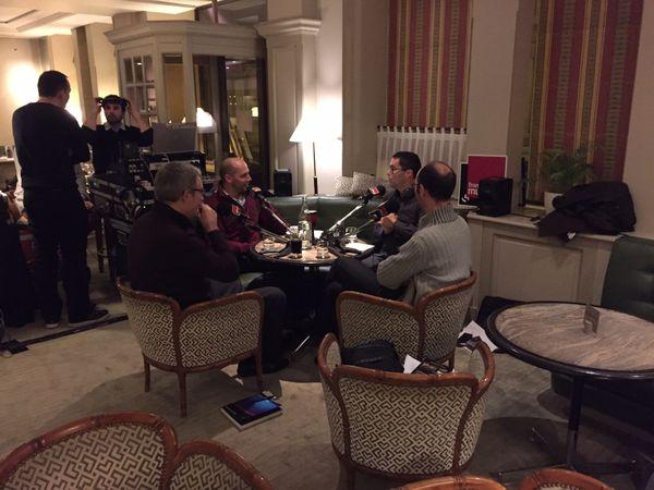 Lionel Esparza avec ses invités au Relais Bedford : Stéphane Degout, Emmanuel Reibel et Jean-Marc Besse