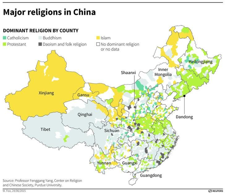 Map of China showing dominant religion by county