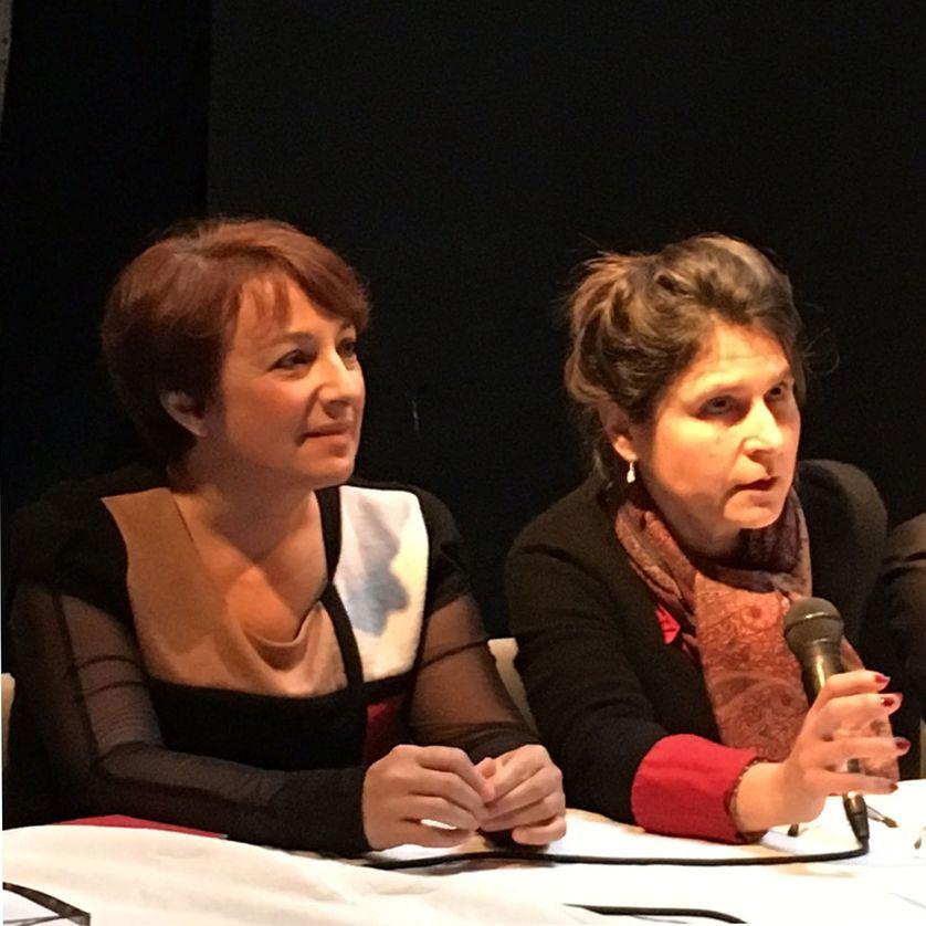 Isabelle Attard, députée, et Sophie Wahnich, historienne, lors du lancement du Comité de vigilance citoyenne