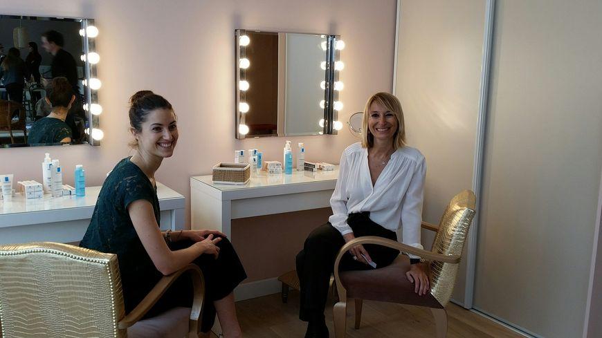 J. Boitard, la directrice, et C. Dupré, co-fondatrice, dans le Salon de Beauté