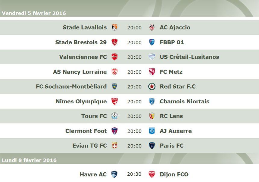 Le programme de la 25e journée de Ligue 2