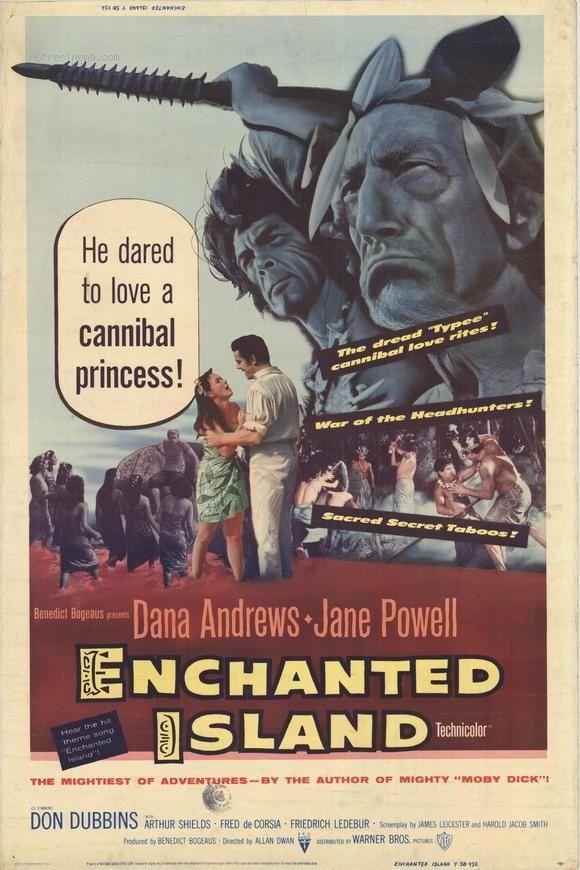 Affiche du film Les Iles Enchantées (Enchanted Island) d'Allan Dwan en 1958