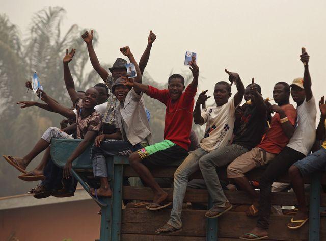 Des supporters de Faustin-Archange Touadéra à Bangui, Centrafrique
